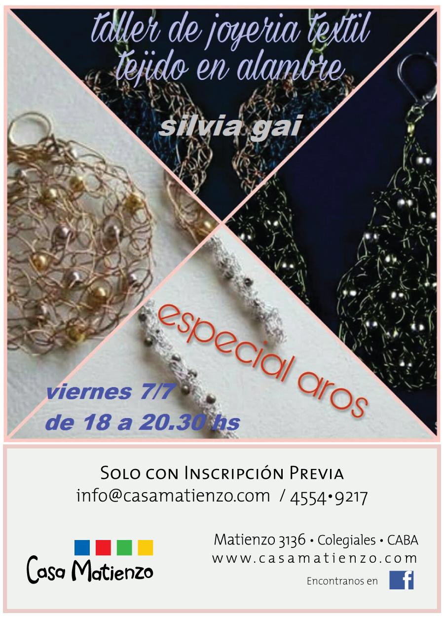 Julio: TALLER DE JOYERÍA TEXTIL: Tejido en alambre. Por Silvia Gai