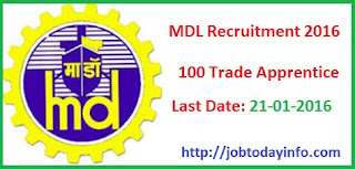 MDL Recruitment 2016 Apply Online for 100 Trade Apprentice Posts