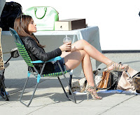Emma Watson showing legs on the bling ring set
