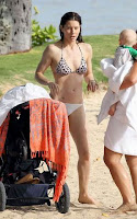 Jessica Claire Biel (born March 3, 1982) candids in animal print bikini in Hawai beach with her son