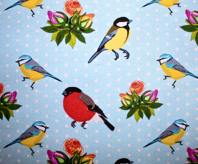 fabric, custom, birds, roses, polka dots