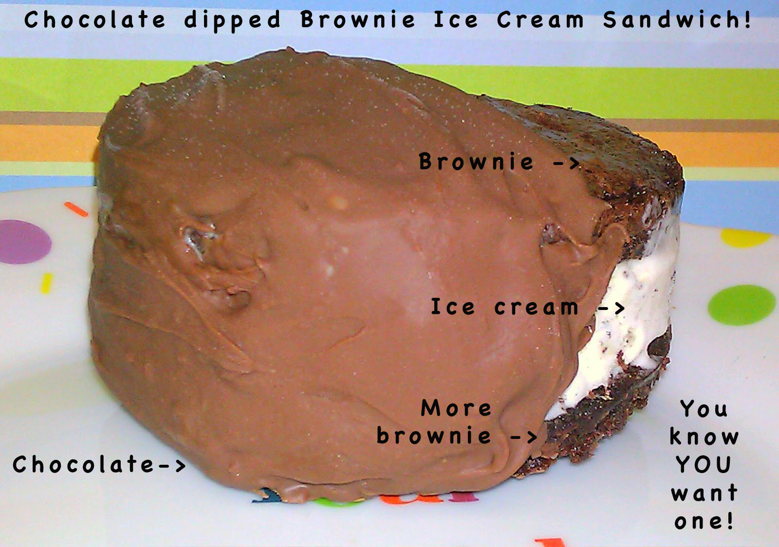Deluxe Chocolate Dipped Brownie Ice cream Sandwich Recipe ...