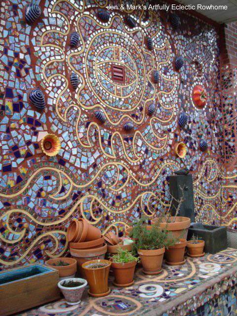 Arquitectura de casas murales art sticos para el patio o for El mural de mosaicos