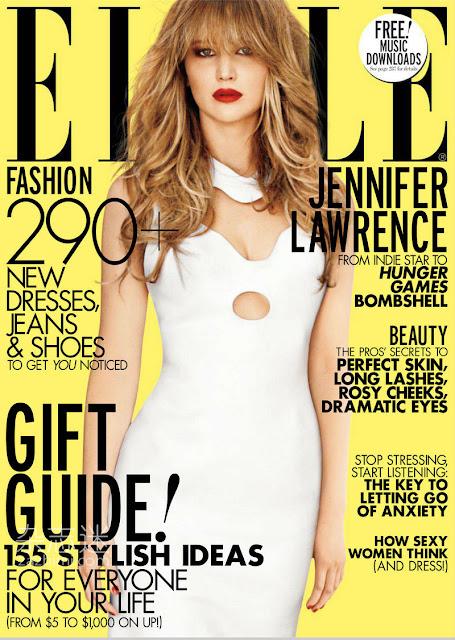 Elle October 2012 cover girl Jennifer Lawrence of Hunger Games