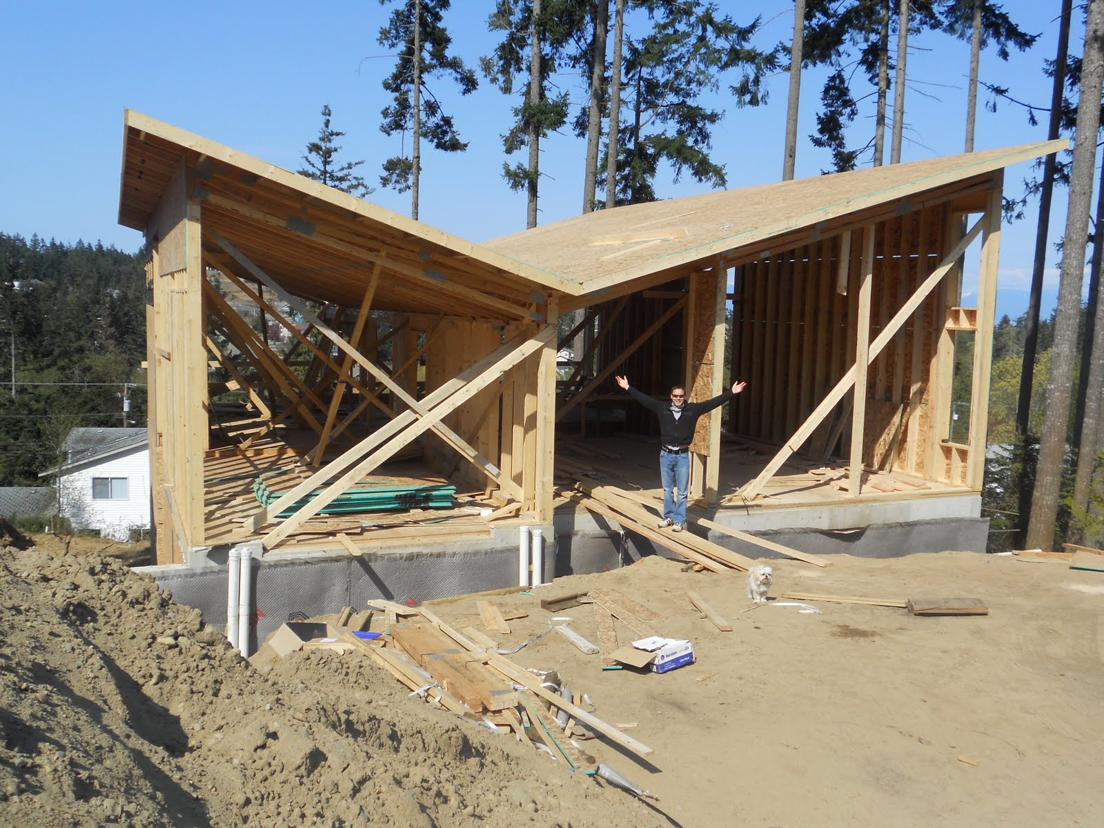 butterfly house april 24th main floor roof trusses