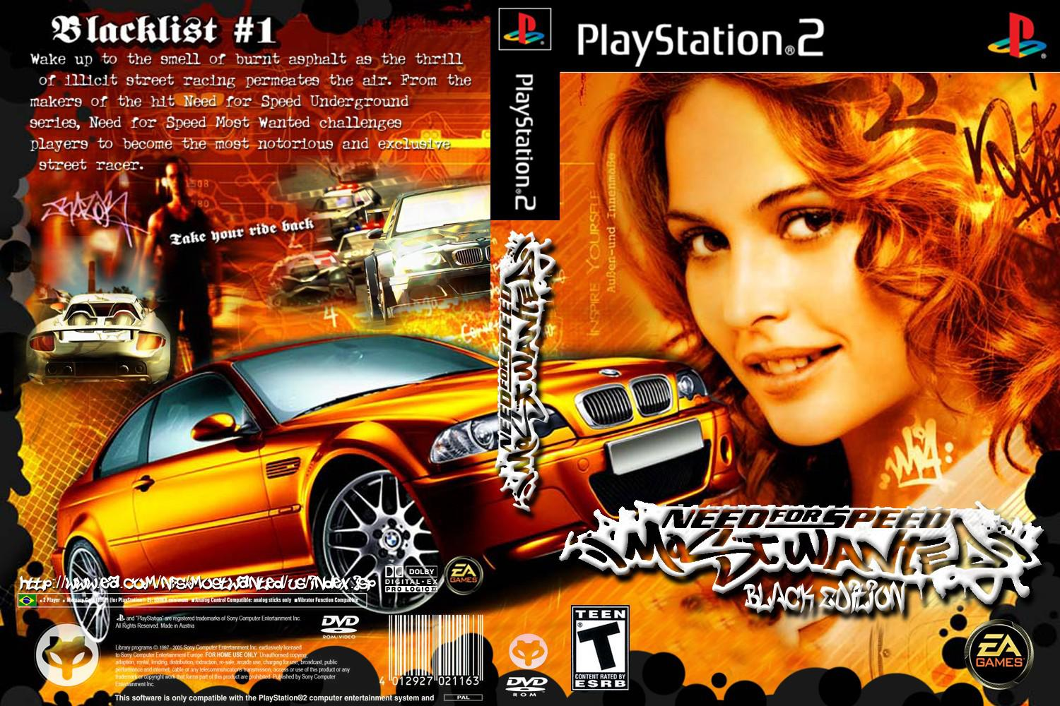 Capa Need For Speed Most Wanted Black Edition CUSTOM PS2