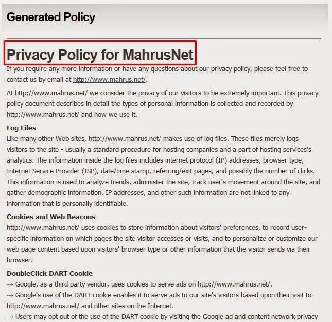 Cara Mudah Membuat Privacy Policy Buat Blog