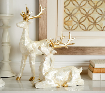 Set of 2 Capiz Pearlescent Deer by Valerie