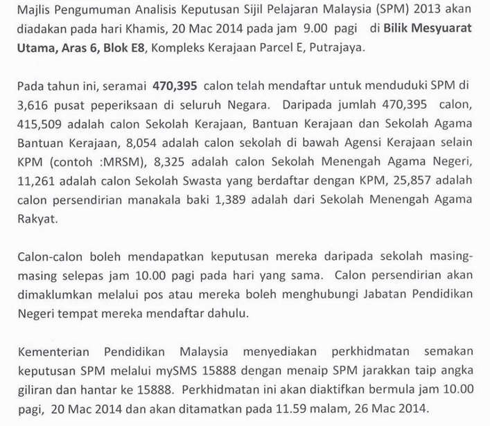 semakan keputusan spm 2013 bilangan calon spm 2013 470395 calon duduki