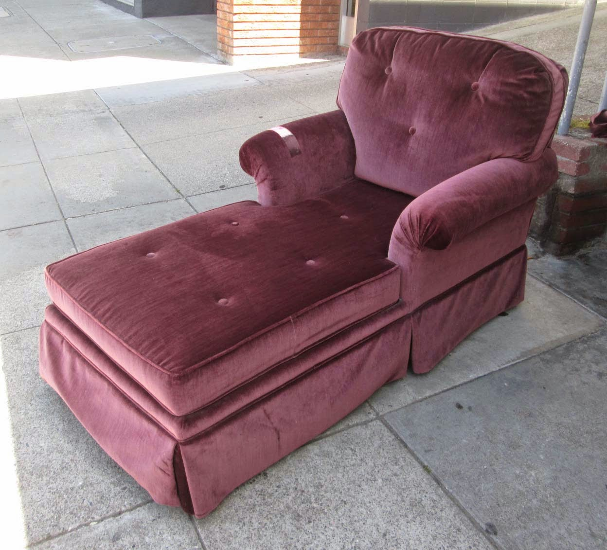 Uhuru furniture collectibles sold reduced burgundy for Burgundy chaise lounge