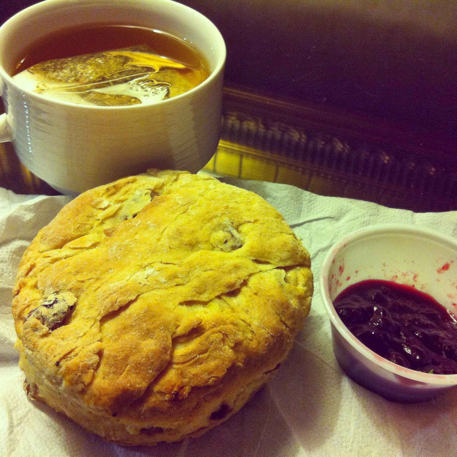 Tea and Vegan Scone with Jam from Cornucopia Dublin, Ireland