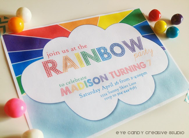 rainbow party invite, rainbow birthday invite, rainbow gumballs, girls birthday party ideas