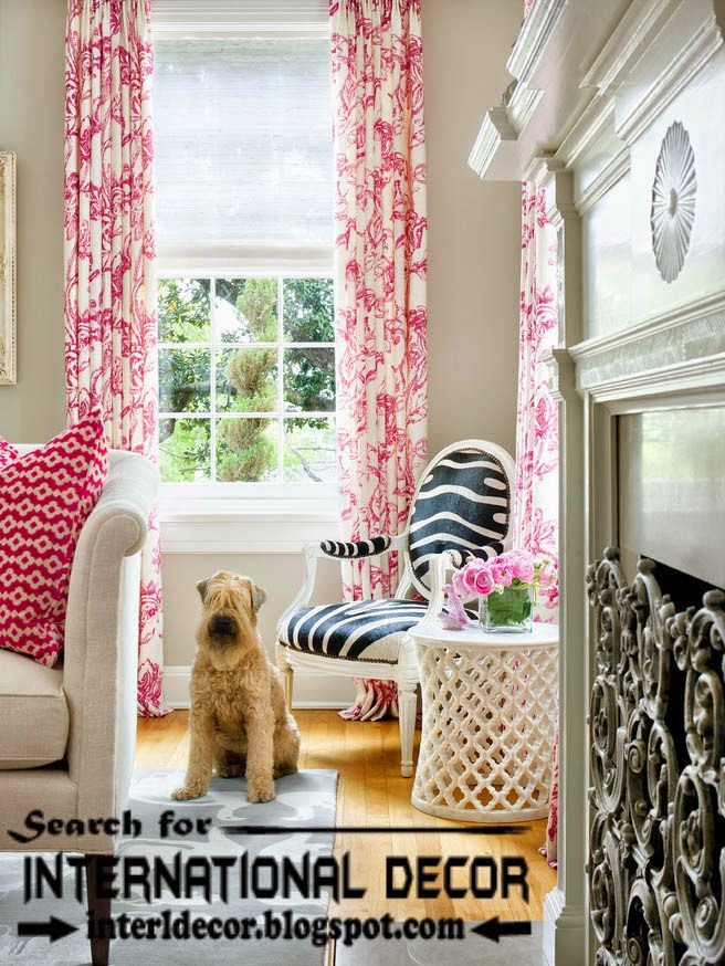 living room curtain styles, colors and materials, patterned curtains