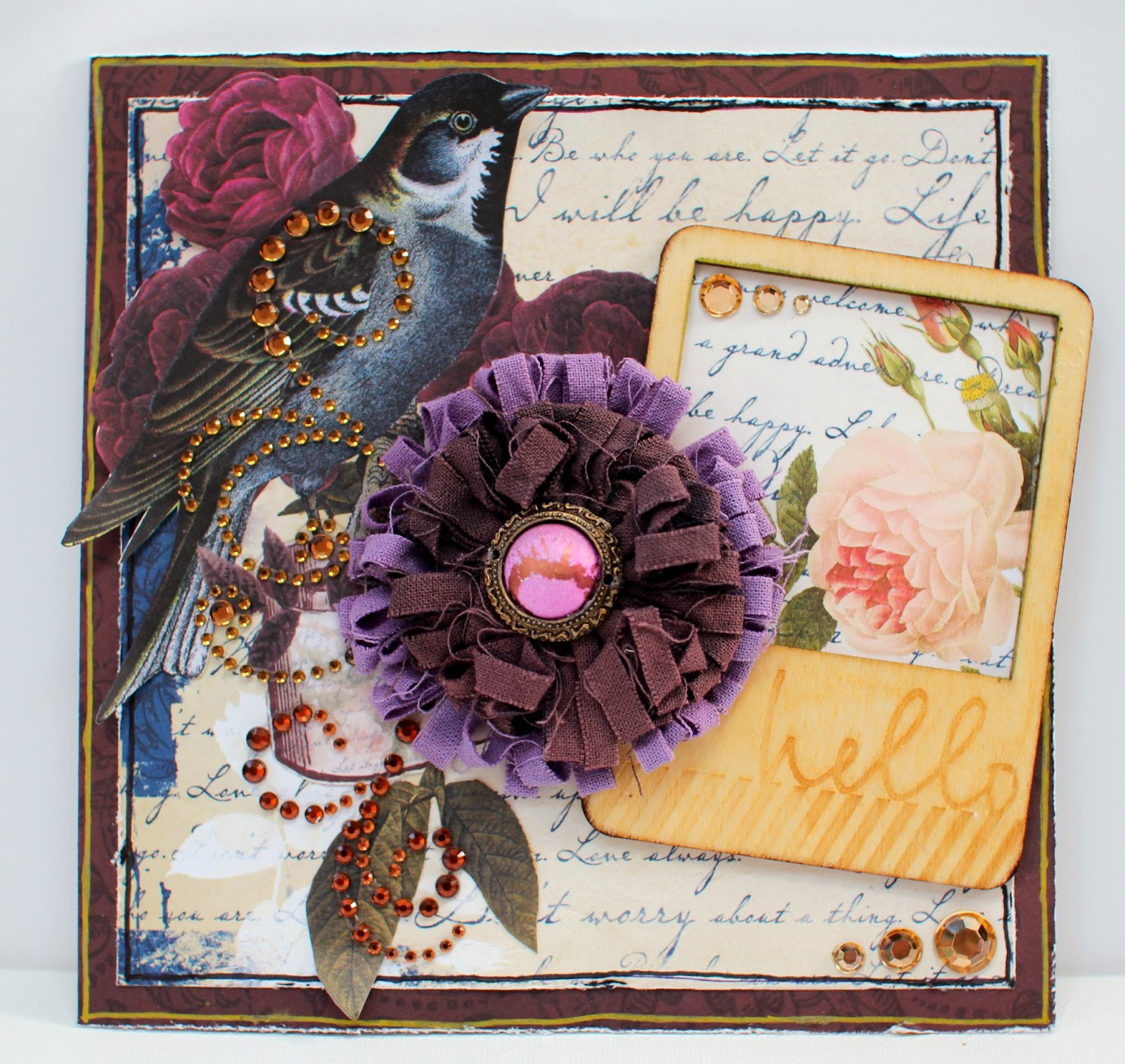 Hello Card by Ilene Tell using BoBunny Rose Cafe Collection