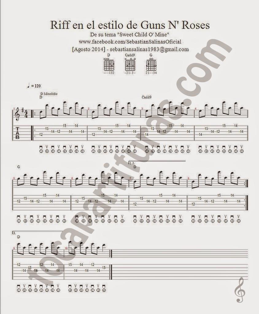 Riff en el estilo de Guns N' Roses Tablatura y Partitura del punteo de Guitarra de la canción Seet Child O'Mine tabs Sebastián para tocapartituras.com
