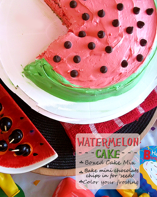 Watermelon Cake made with boxed cake mix, food coloring, and baked in mini chocolate chip 'seeds'.