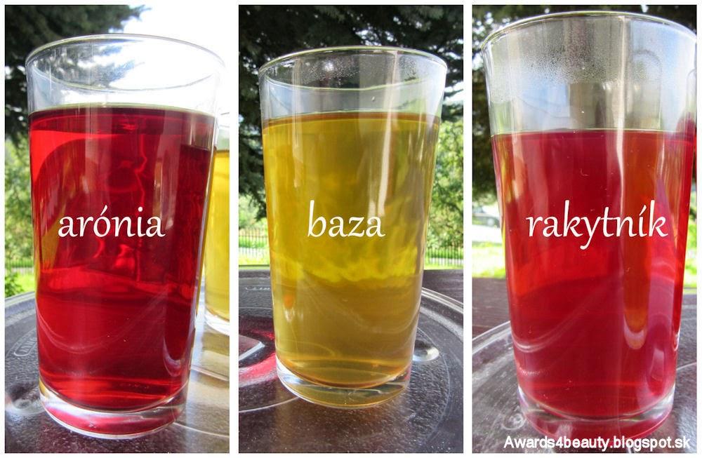Nový ovocný čaj arónia, baza a rakytník v pohároch. Sledujte tie krásne farby jesene.