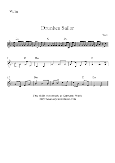 Free easy violin sheet music, Drunken Sailor