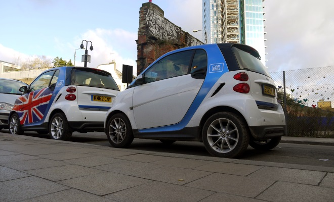A pair of Car2go Smart cars