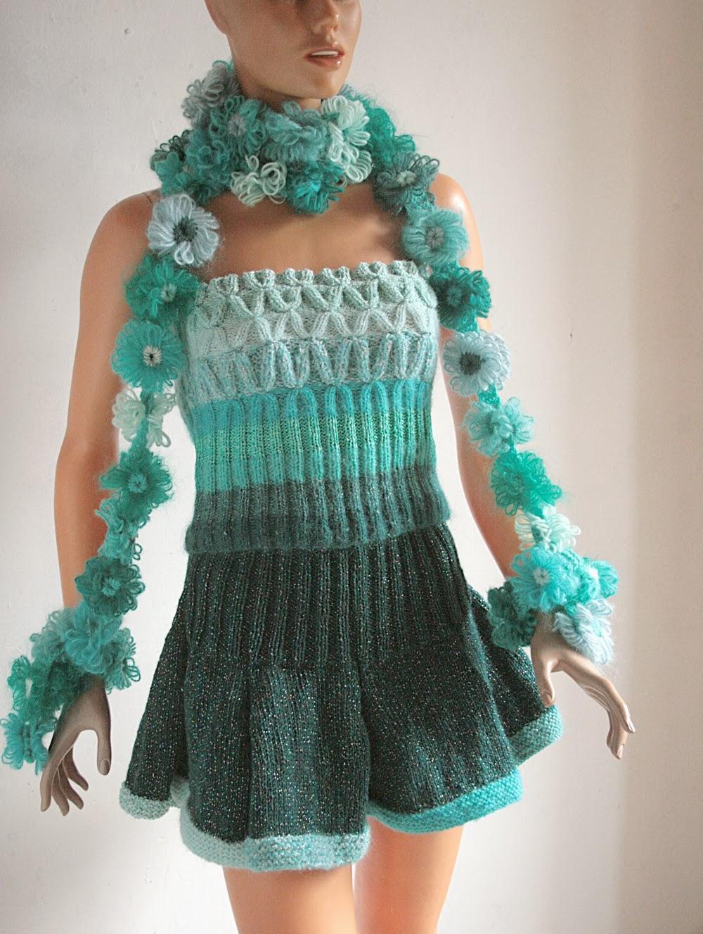 tricot fait main ensemble mode femme vert chic au tricot fait main et accessoire de mode fleurs. Black Bedroom Furniture Sets. Home Design Ideas