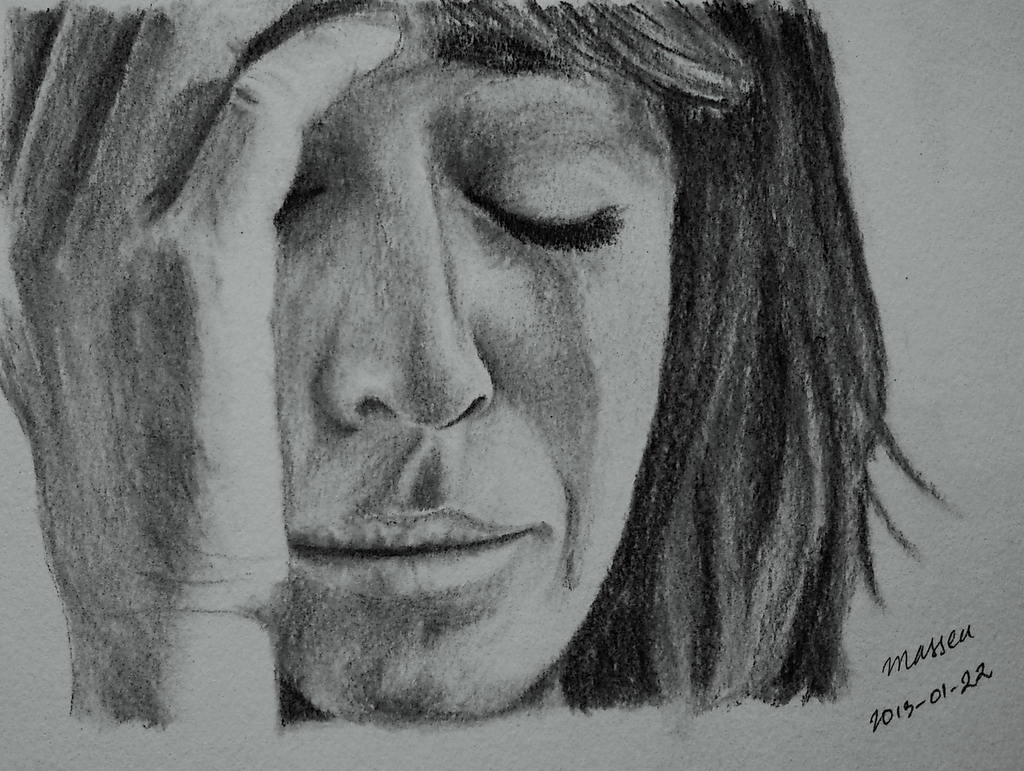 Sad woman crying sketch
