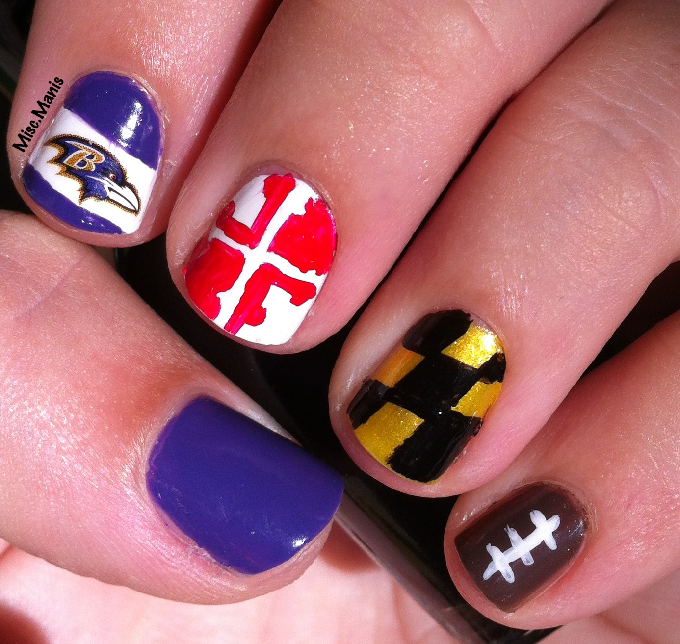 Miscellaneous Manicures: Baltimore Ravens Nails - Week 7 ...