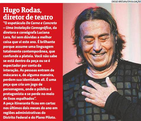 Indicação de De Carne e Concreto como o melhor espetáculo de 2014 por Hugo Rodas
