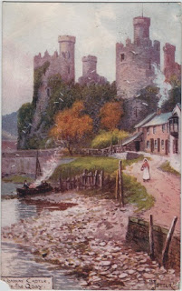 Vintage postcard of Conway Castle, Flintshire, Wales, by the artist Jotter.