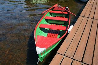 Restored boat, Birch Lodge, Trout Lake, MI