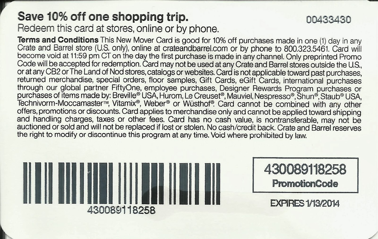 Crate and barrel discount coupon