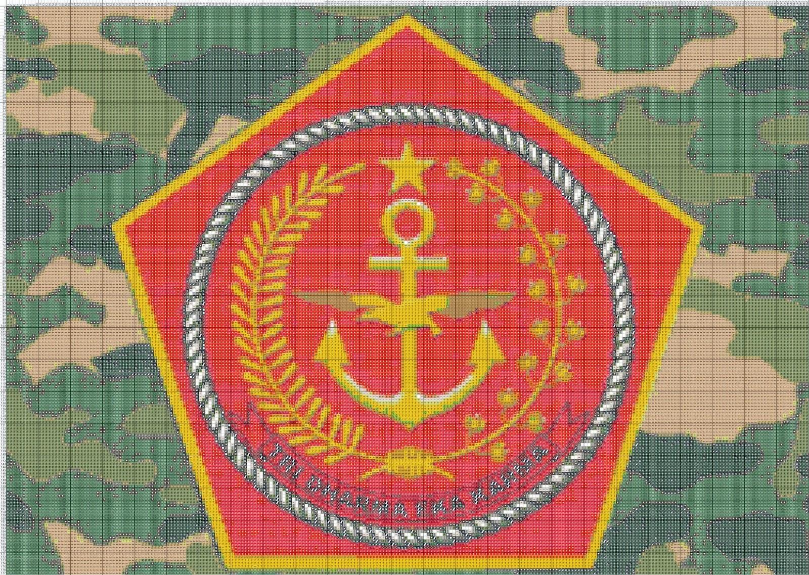 Gambar Pola Kristik Lambang Mabes TNI