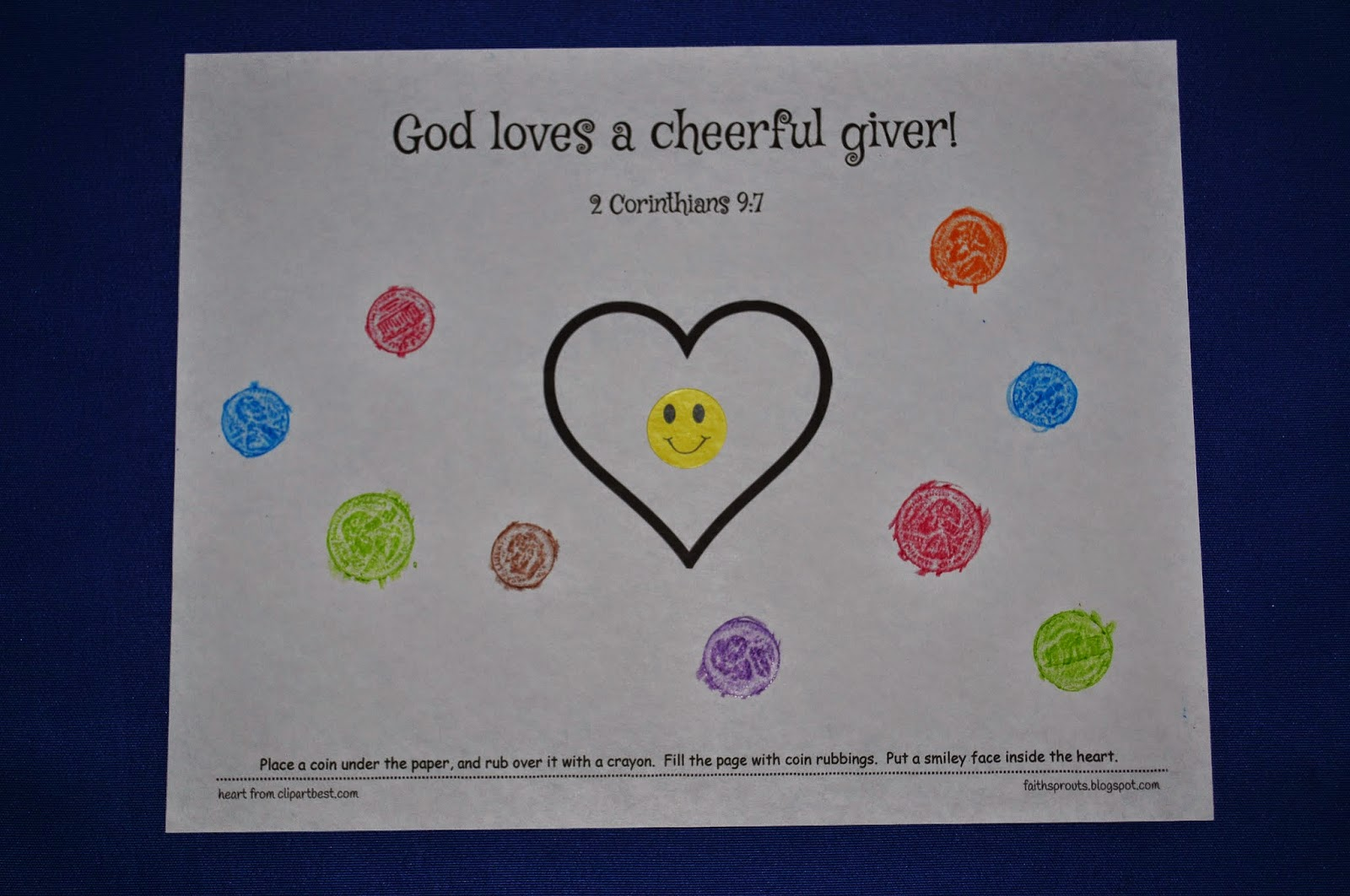 god loves a cheerful giver coloring page - faith sprouts a cheerful giver