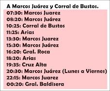 A Marcos Juárez y Sur: