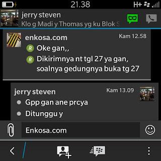 Konfiramsi tanggal pengiriman jersey pesanan Jerry S Kurniawan oleh enkosa Sport