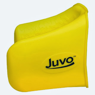 a yellow plastic gripper shaped like a large duck bill that your fingers go into