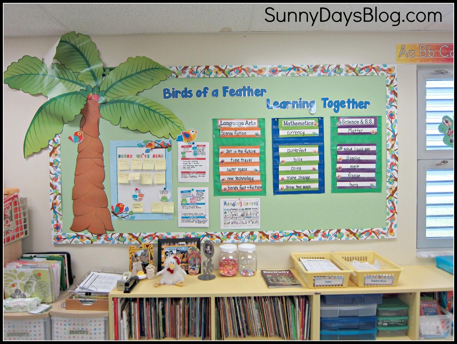 Classroom Decor Birds ~ Boho birds bulletin boards sunny days in second grade