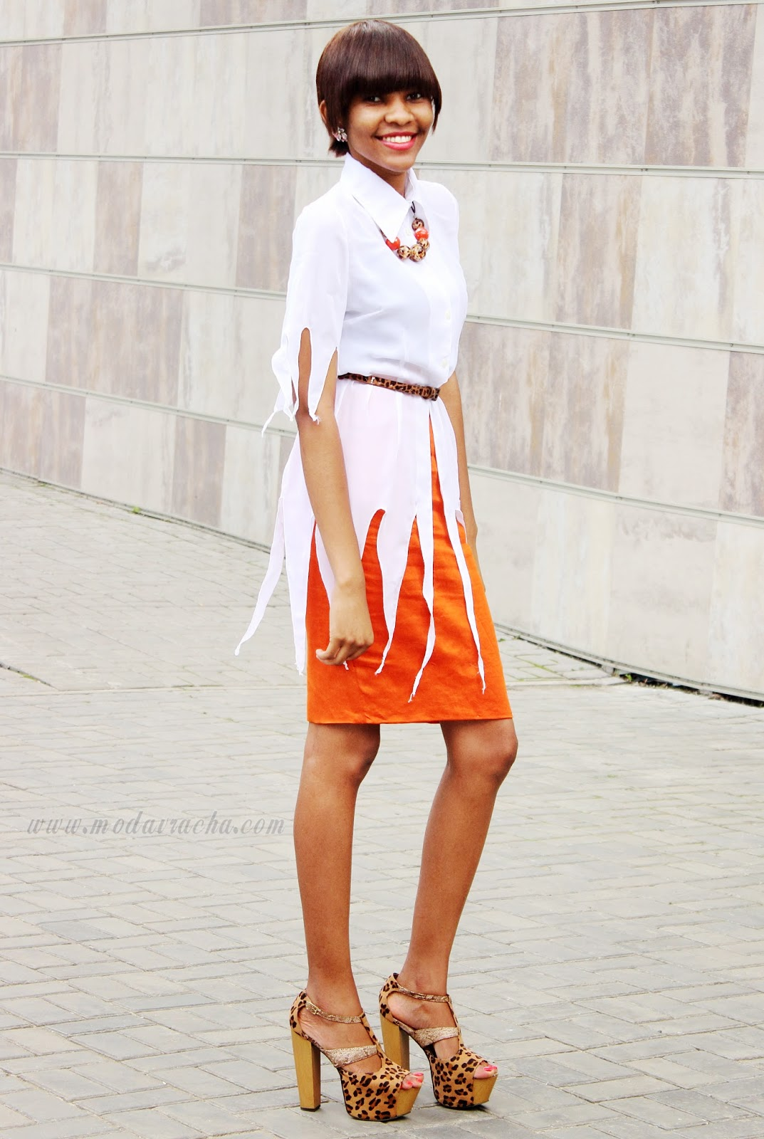 fringed long white shirt, leopard print platform heels,chunky heels