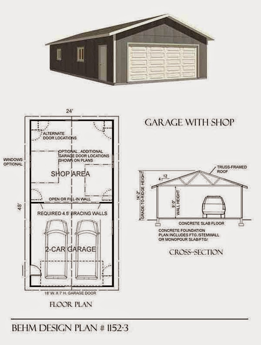 Garage plans blog behm design garage plan examples for Standard two car garage