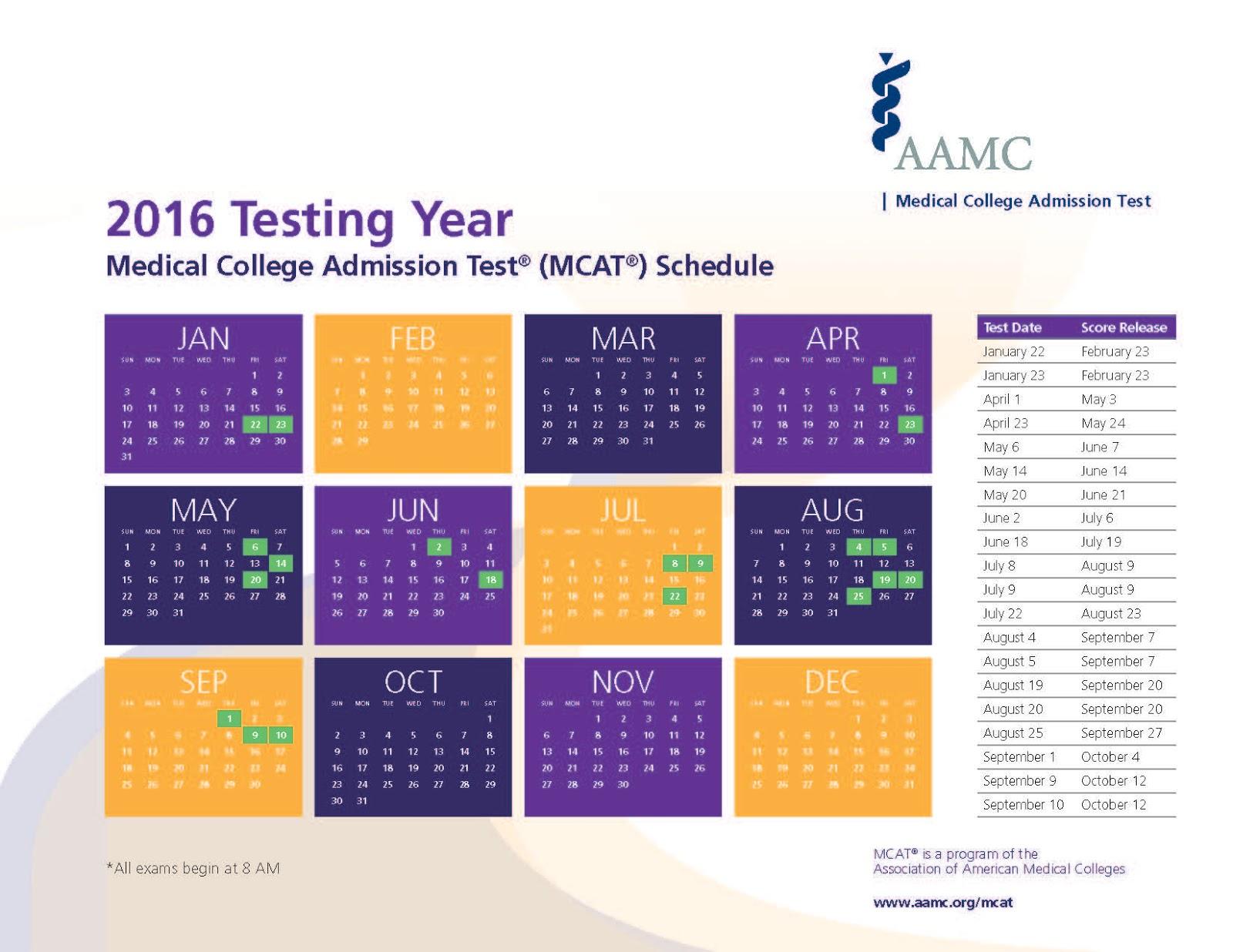 Mcat 2016 test dates