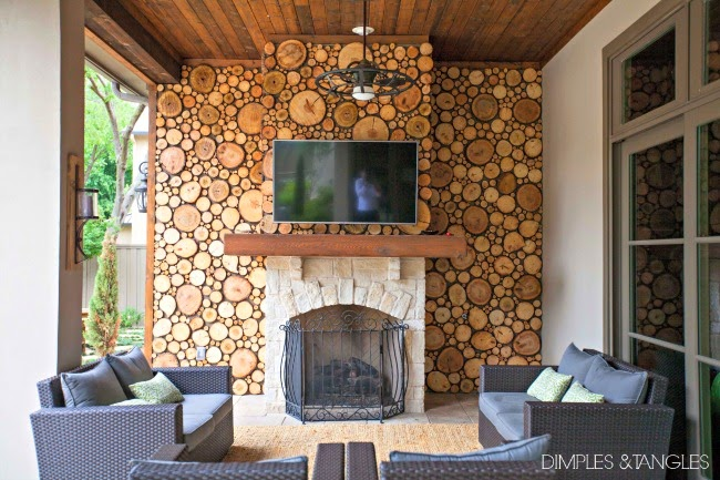 A DREAMY PATIO WOOD DISC WALL - Dimples and Tangles