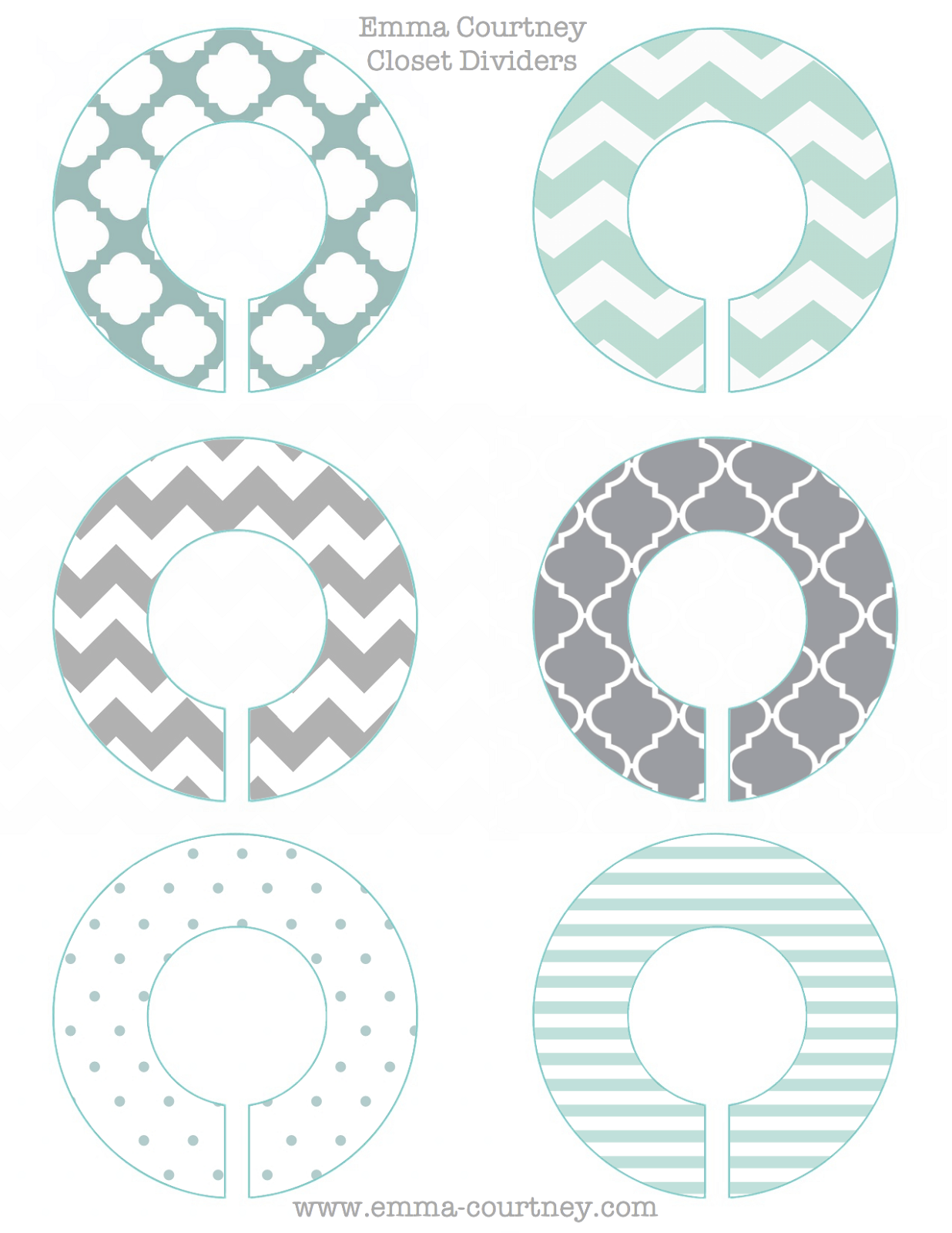 Emma Courtney Closet Dividers Printable