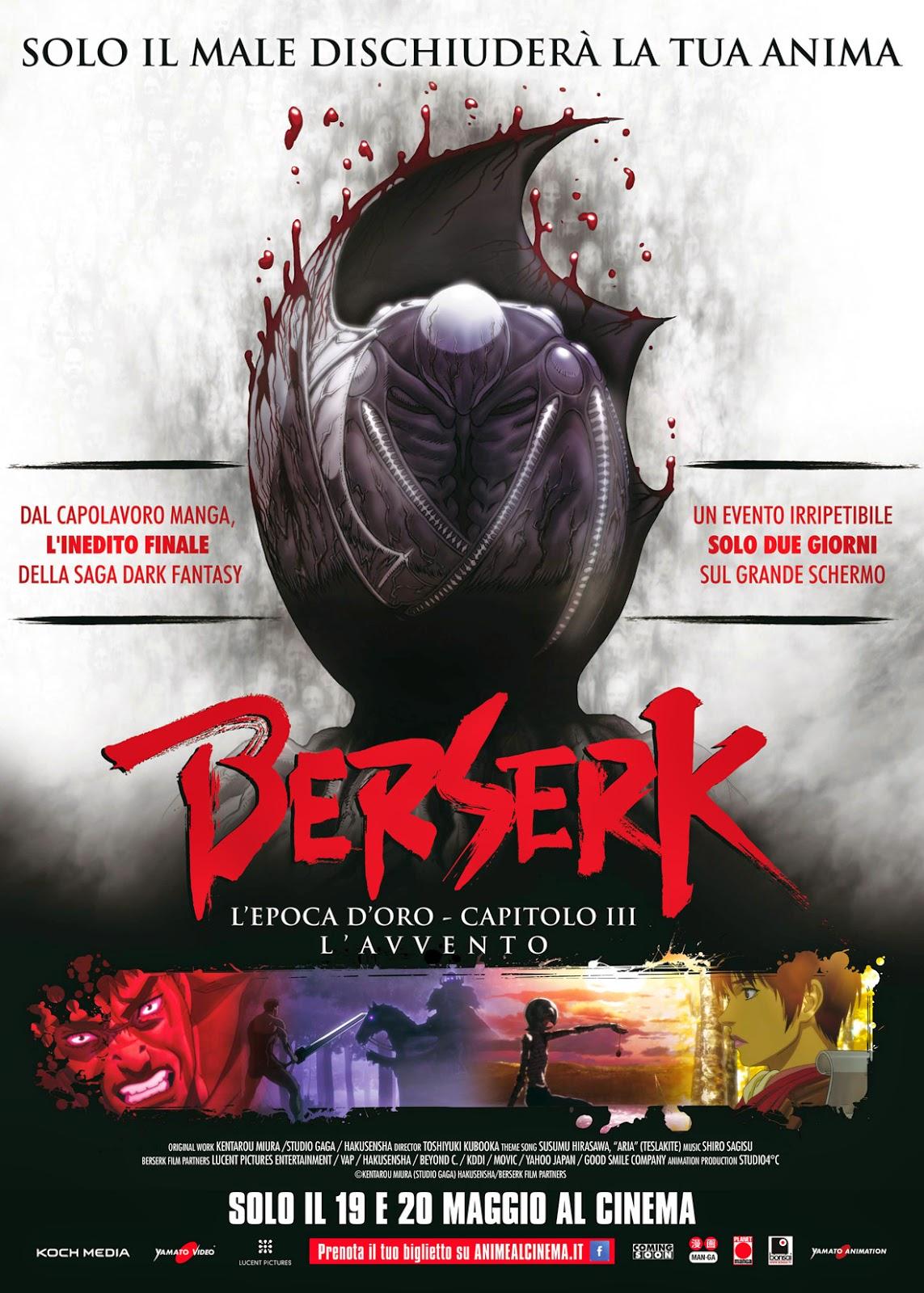 BERSERK, IL FILM CONCLUSIVO DELLA TRILOGIA DELL'EPOCA D'ORO NEI CINEMA ITALIANI