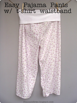 Sew easy pajama pants with t-shirt waistband