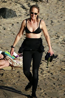 Helen Hunt black bikini California