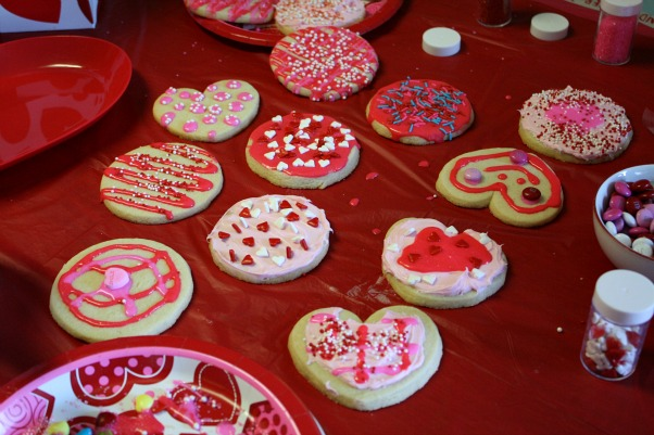 they still decorated cookies with me we had such a good time and it was fun to see all the designs and creations my daughter and son came up with - Decorated Valentine Cookies