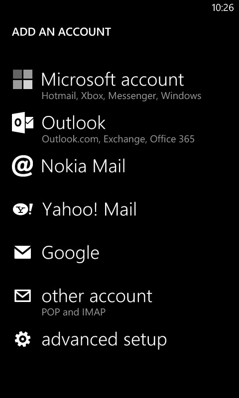 Lumia 820 Mail Setup