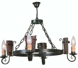 lampara rustica, lampara ceramica y forja, lampara brazos rustica, iluminacion rustica