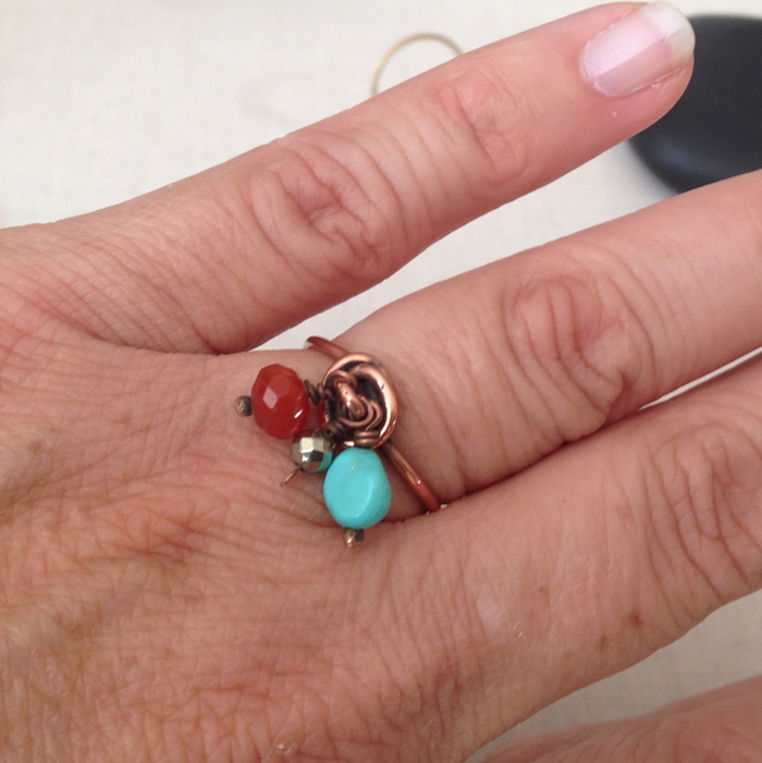 Swirled wire wrap ring with dangles - easy DIY