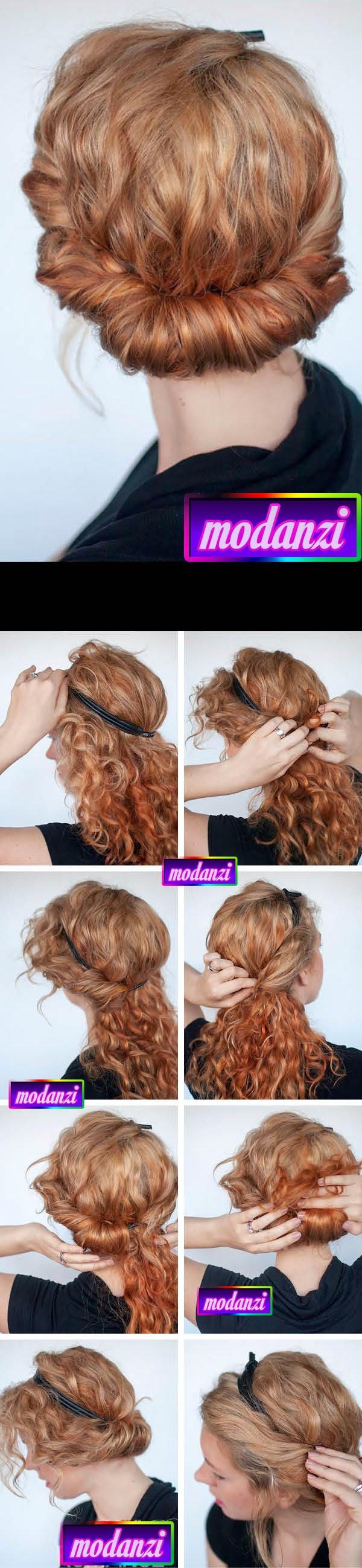 Bantlı Kıvırcık Topuz Saç Modeli Nasıl Yapılır ? ( Resimli Anlatım )