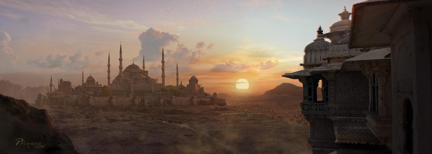 The Art Of Pablo Palomeque Desert Sunset Matte Painting